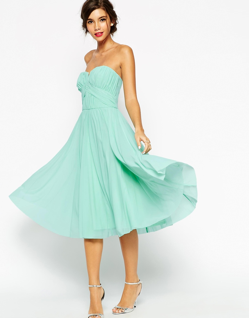 Lyst - Asos Wedding Ruched Bodice Bandeau Midi Dress - Mint in Green