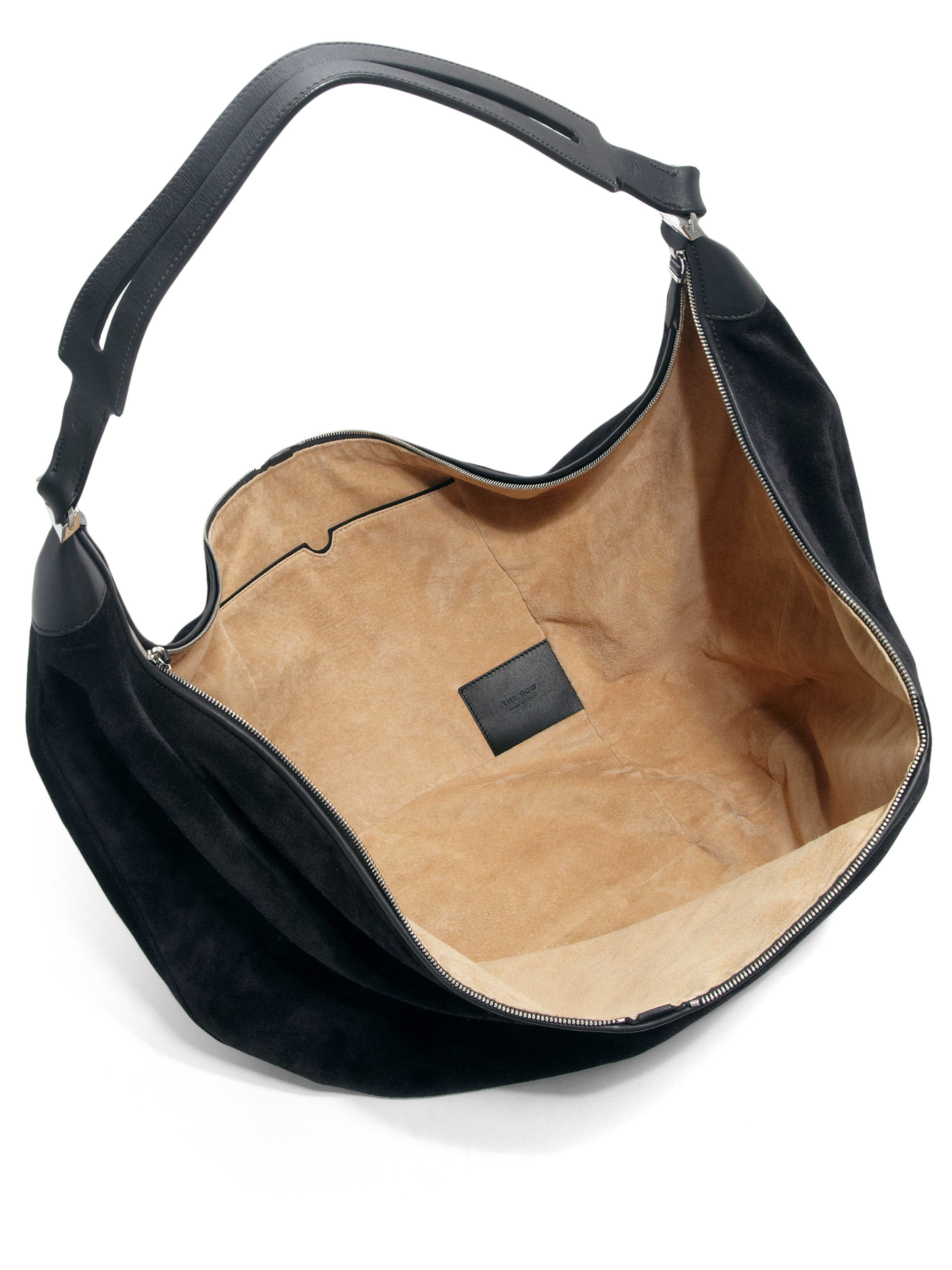 48a6f2b0a2de Lyst - The Row Sling 12 Suede Hobo Bag in Black