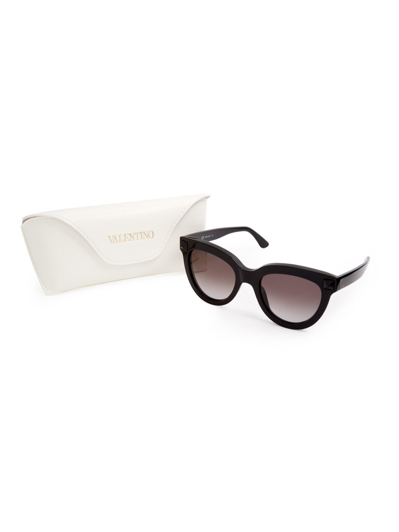 fd4a6abd2618 Valentino Rockstud Cat-eye Frame Sunglasses in Black - Lyst