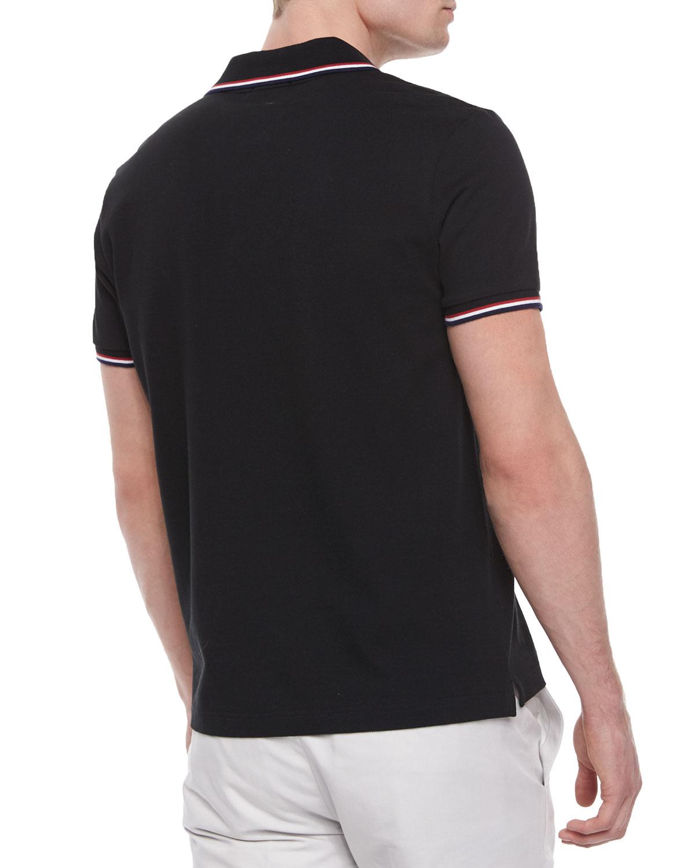 d1ba137ed115 Lyst - Moncler Short-sleeve Tape-tipped Polo Shirt in Blue for Men