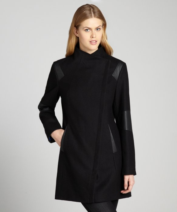Calvin klein Black Asymmetrical Wool Coat with Faux Leather Trim ...