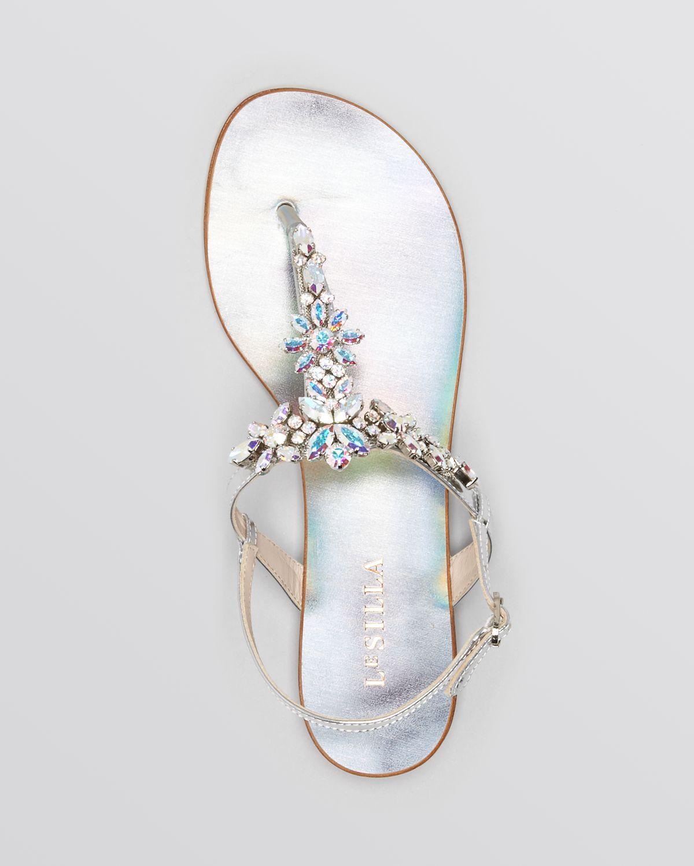 6c799351697cec Lyst - Le Silla Flat Sandals Crystal in Metallic