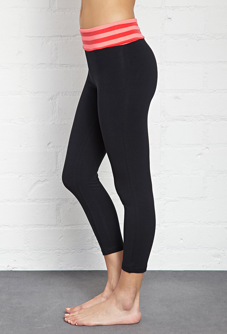 Forever 21 Striped Fold-Over Yoga Capris in Black | Lyst