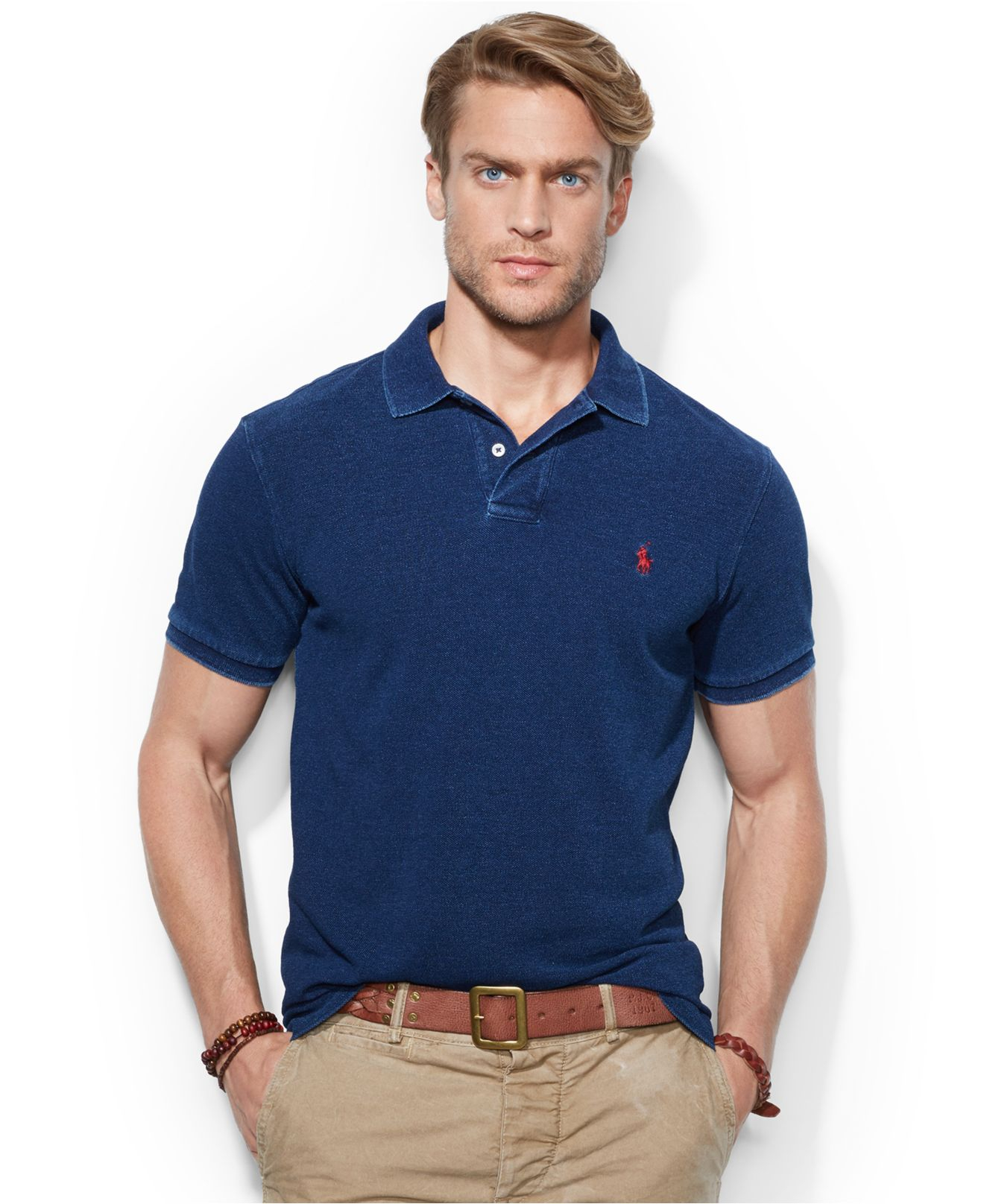 c5c9786f65663 Lyst - Polo Ralph Lauren Custom-fit Mesh Indigo Polo in Blue for Men