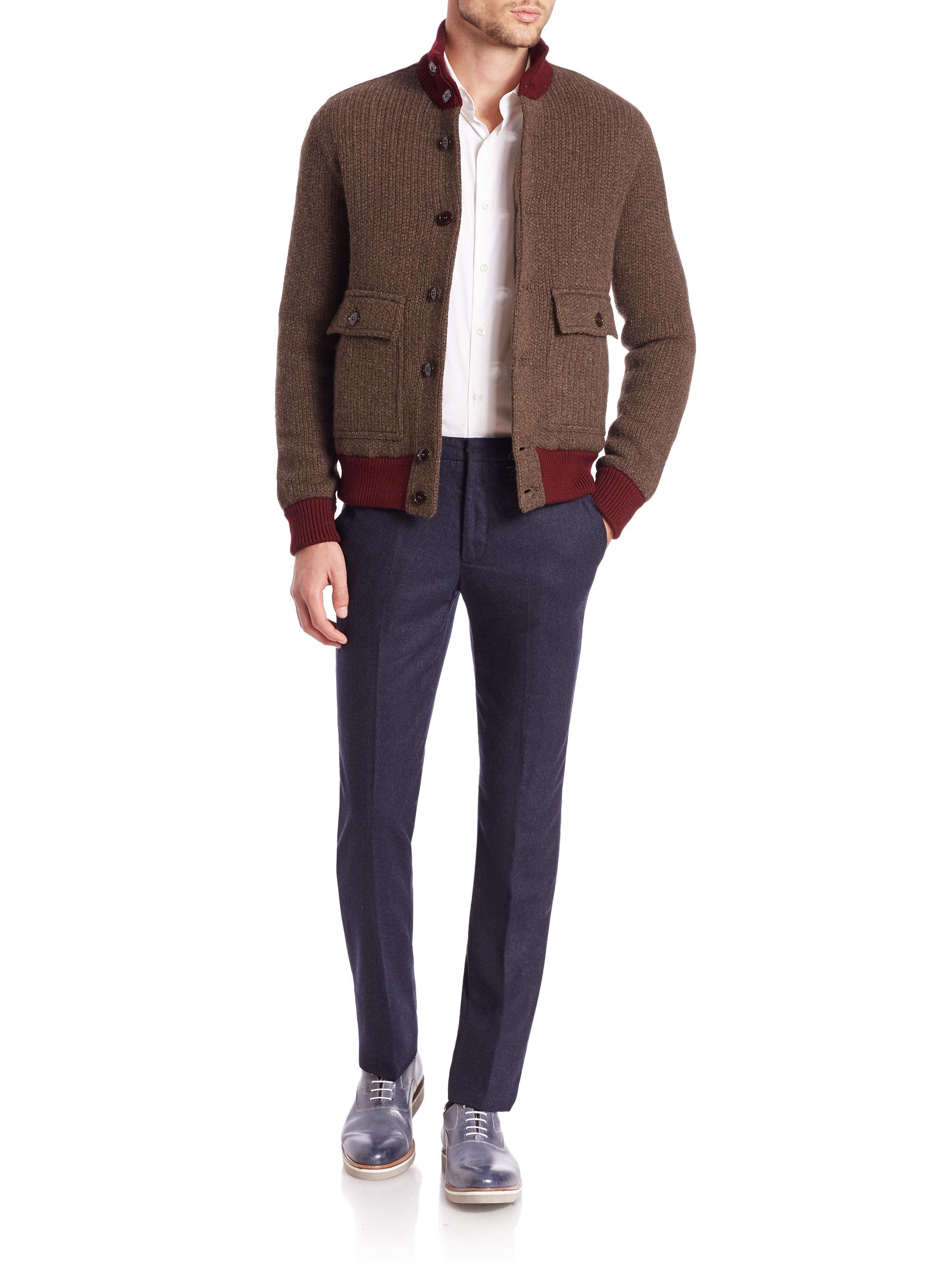 Knitting Pattern Bomber Jacket : Slowear Knit Bomber Jacket in Red for Men Lyst