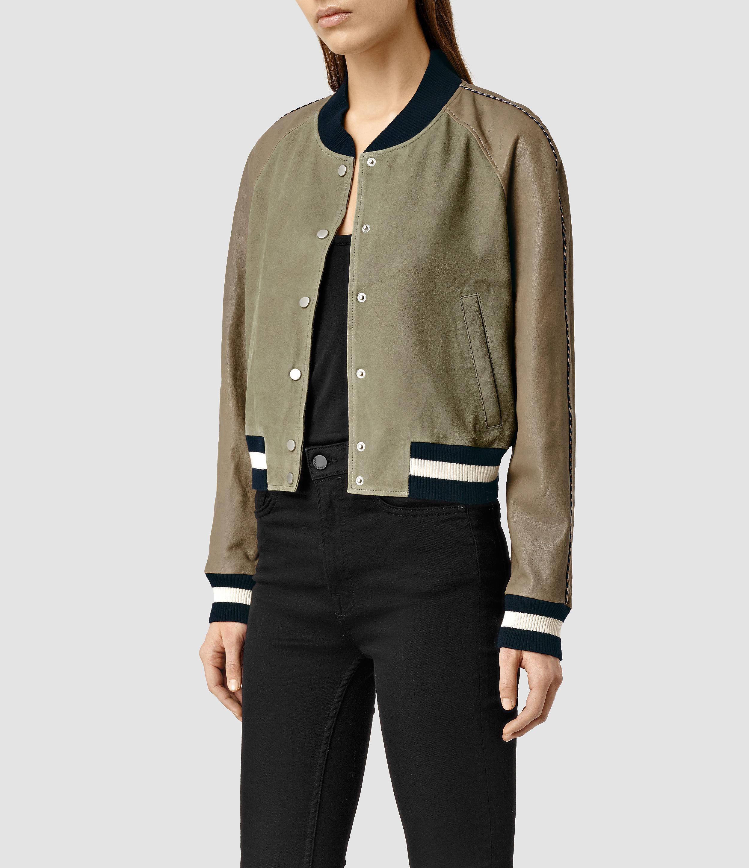 Lyst Allsaints Lanley Leather Bomber Jacket In Gray