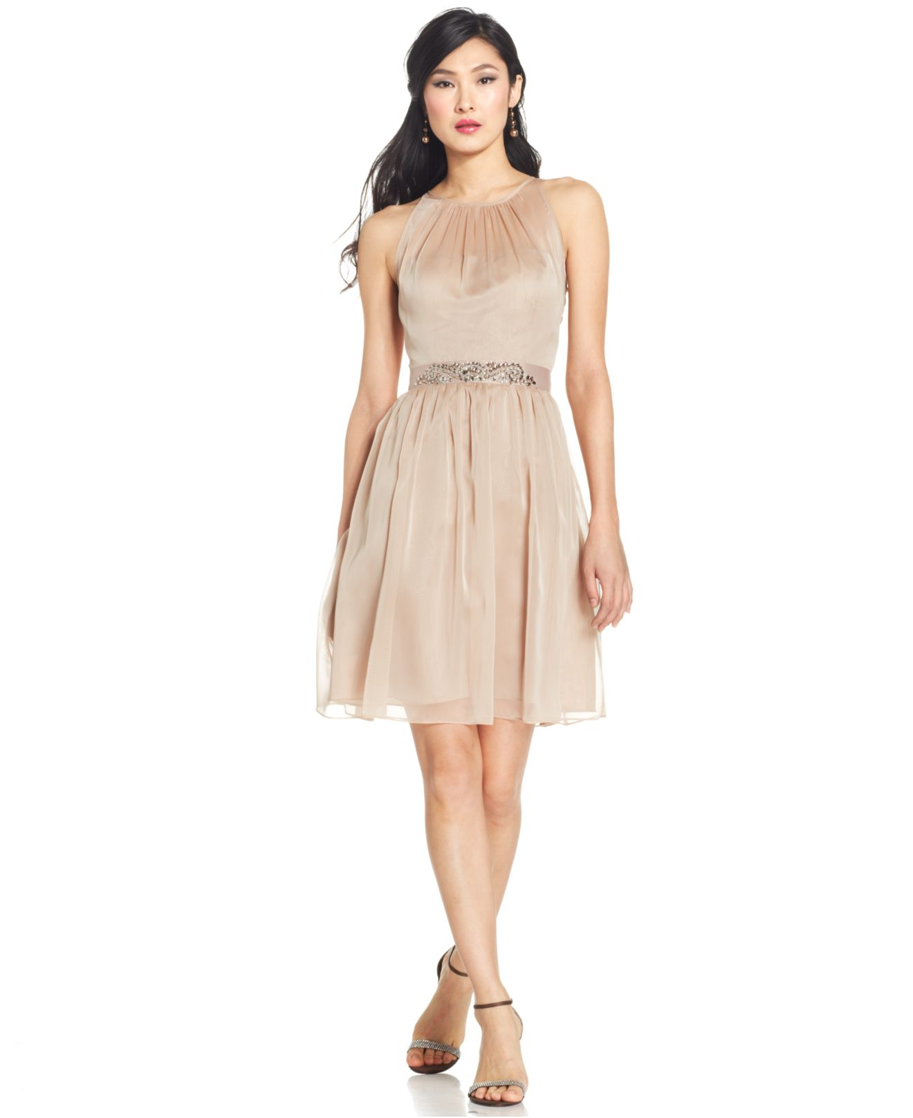 Adrianna papell Belted Chiffon Halter Dress in Pink | Lyst