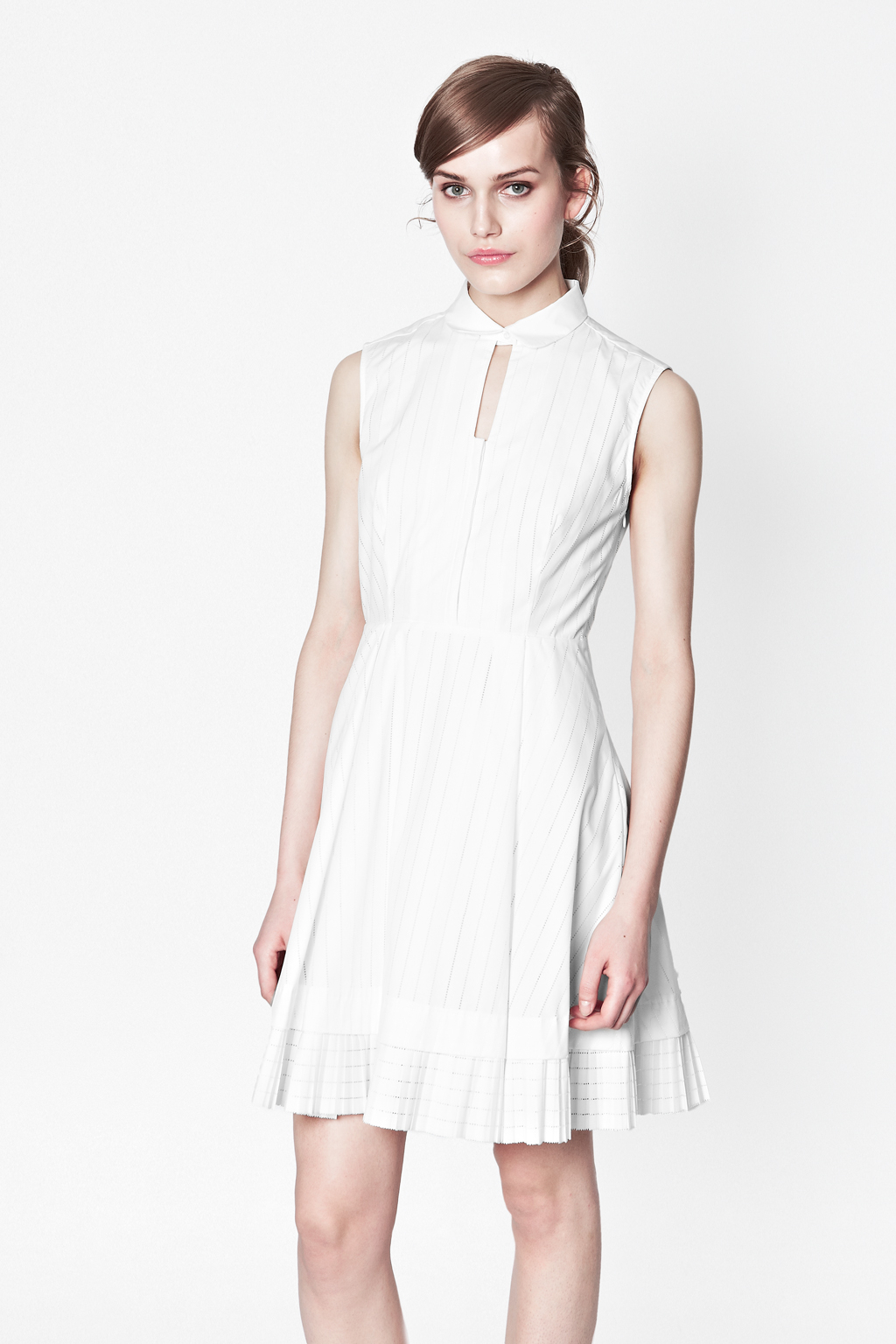French connection pixel cotton shirt dress in white for French connection t shirt dress