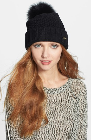 Lyst - Burberry Genuine Blue Fox Fur Pom-Pom Beanie in Black 08a3813ff80