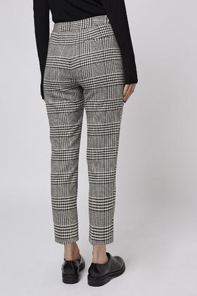 Topshop Petite Checked Cigarette Trousers In Gray Lyst