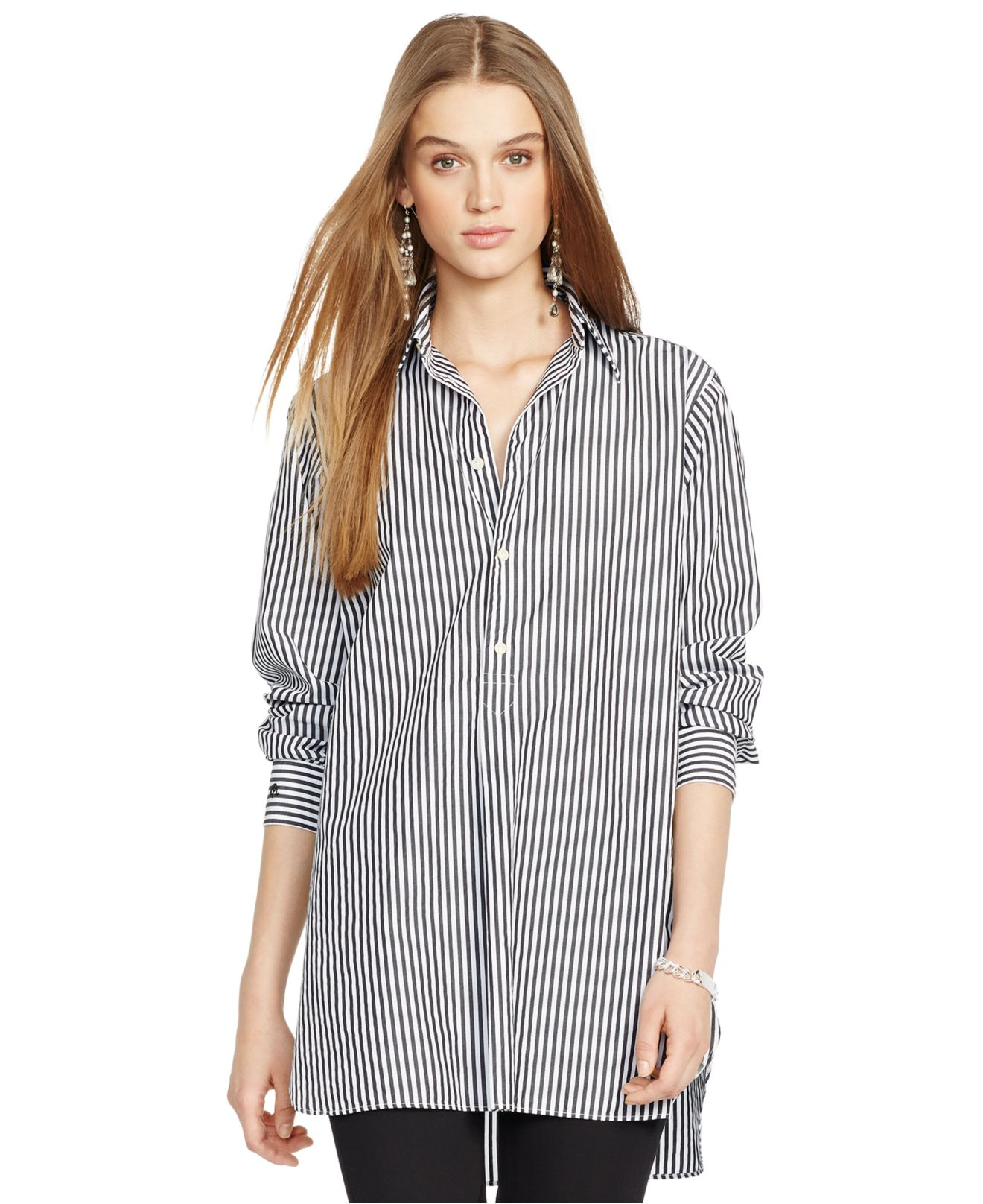 polo ralph lauren long sleeve striped poplin tunic in gray lyst. Black Bedroom Furniture Sets. Home Design Ideas