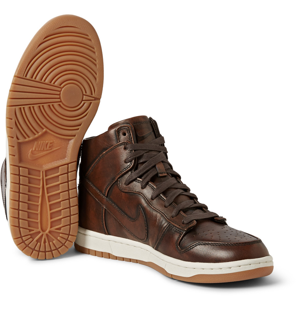 newest d5fac fed90 ... Nike Lab Dunk High Sp Burnished Leather Sneakers in Brown fo ...