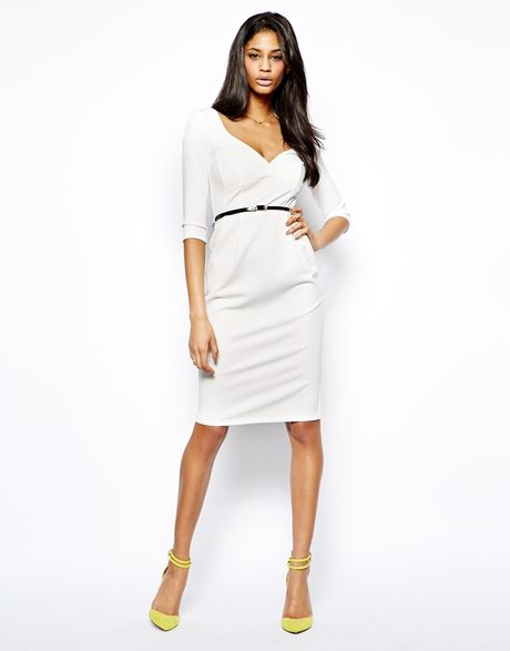 asos belted pencil midi dress in white lyst