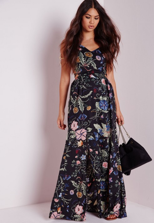 Lyst Missguided Strappy Tie Maxi Dress Black Floral In Black
