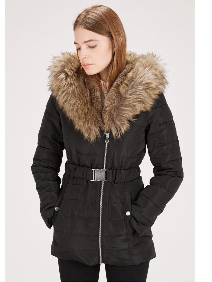 Warehouse Asymmetric Parka Coat in Black | Lyst
