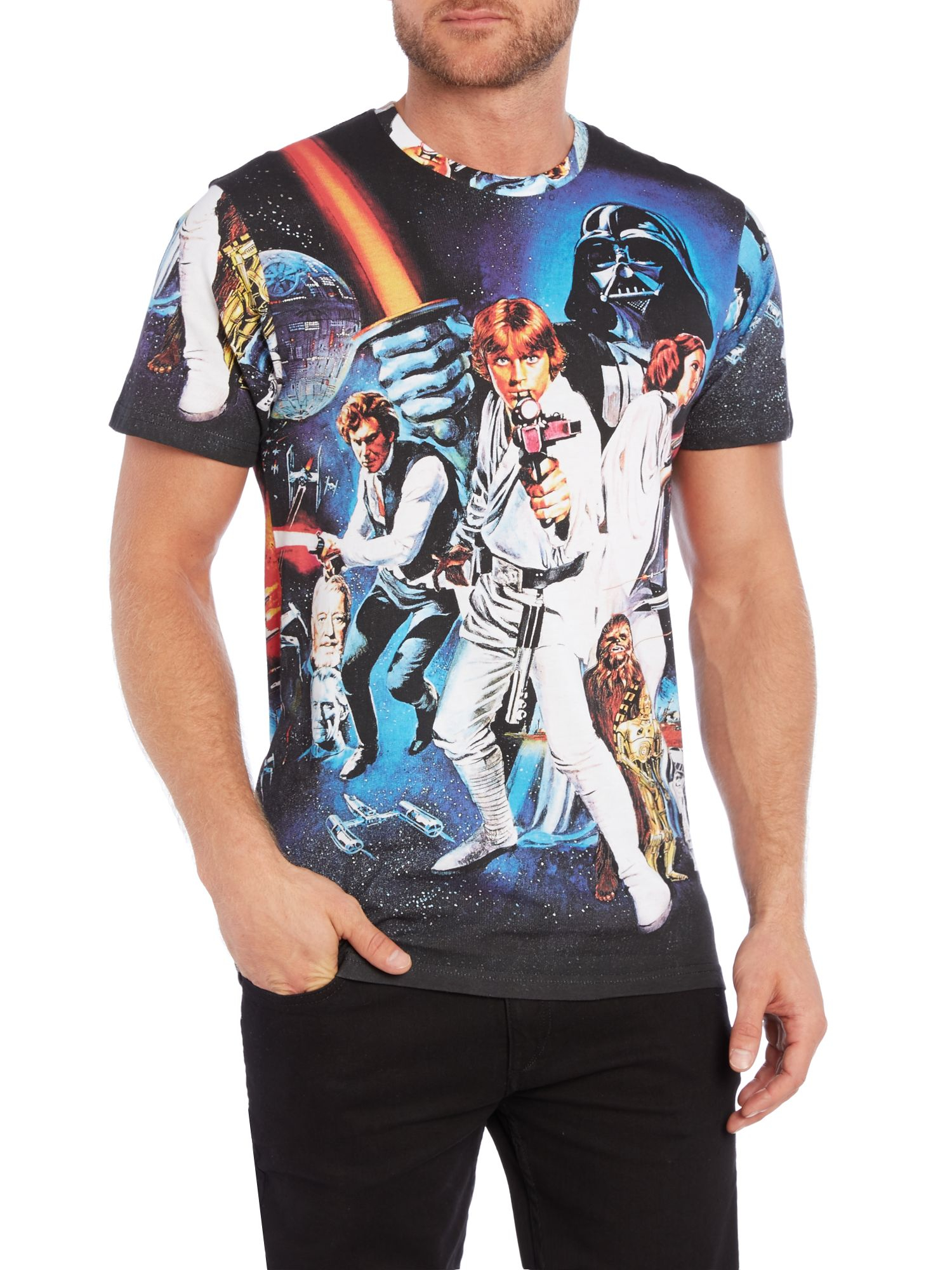 eleven paris regular fit star wars graphic t shirt in black for men lyst. Black Bedroom Furniture Sets. Home Design Ideas