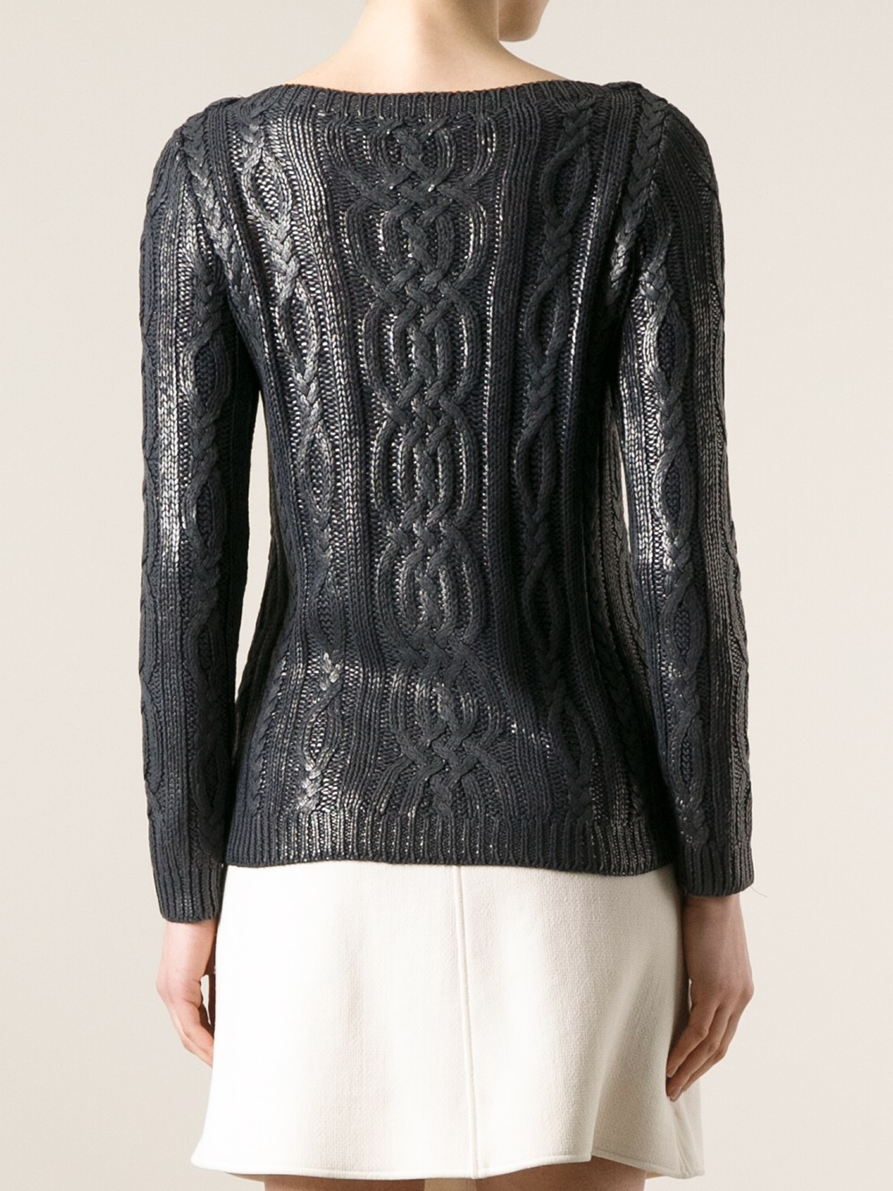 Ralph lauren black label Metallic Cable Knit Sweater in Metallic ...