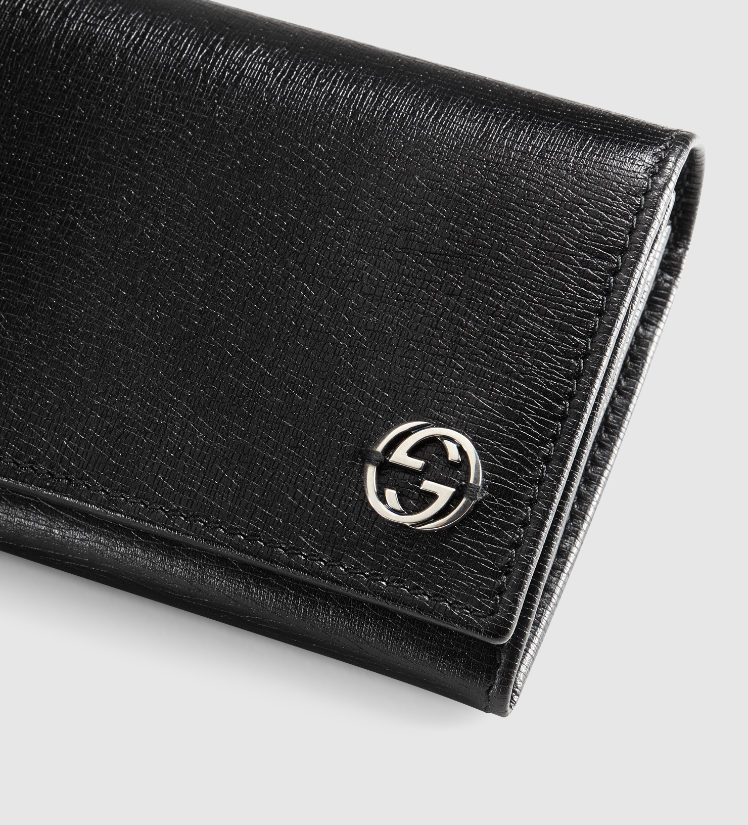gucci leather long coin wallet with printed interior in black for men lyst. Black Bedroom Furniture Sets. Home Design Ideas