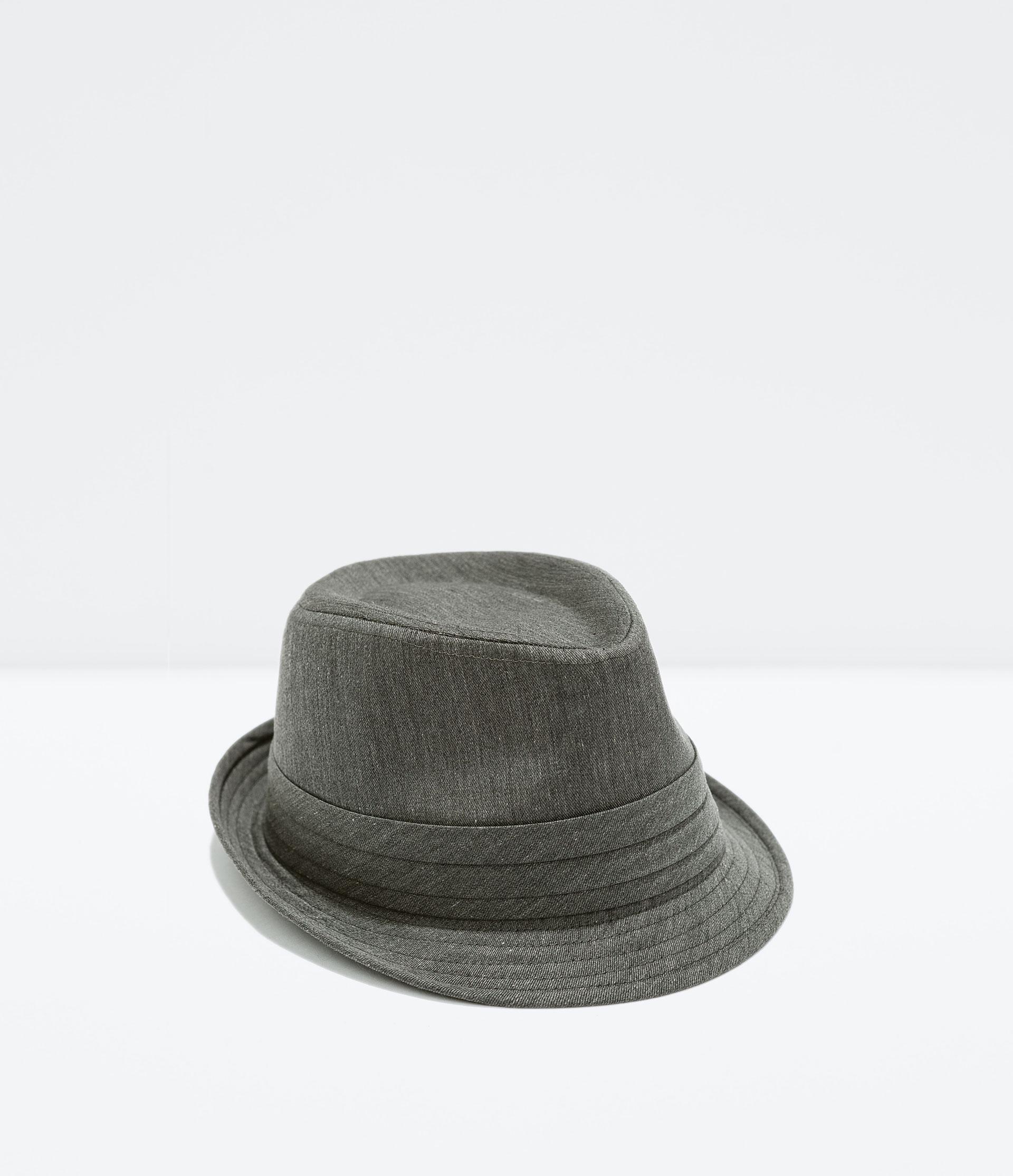 Zara Cotton Hat In Gray For Men Dark Grey Lyst