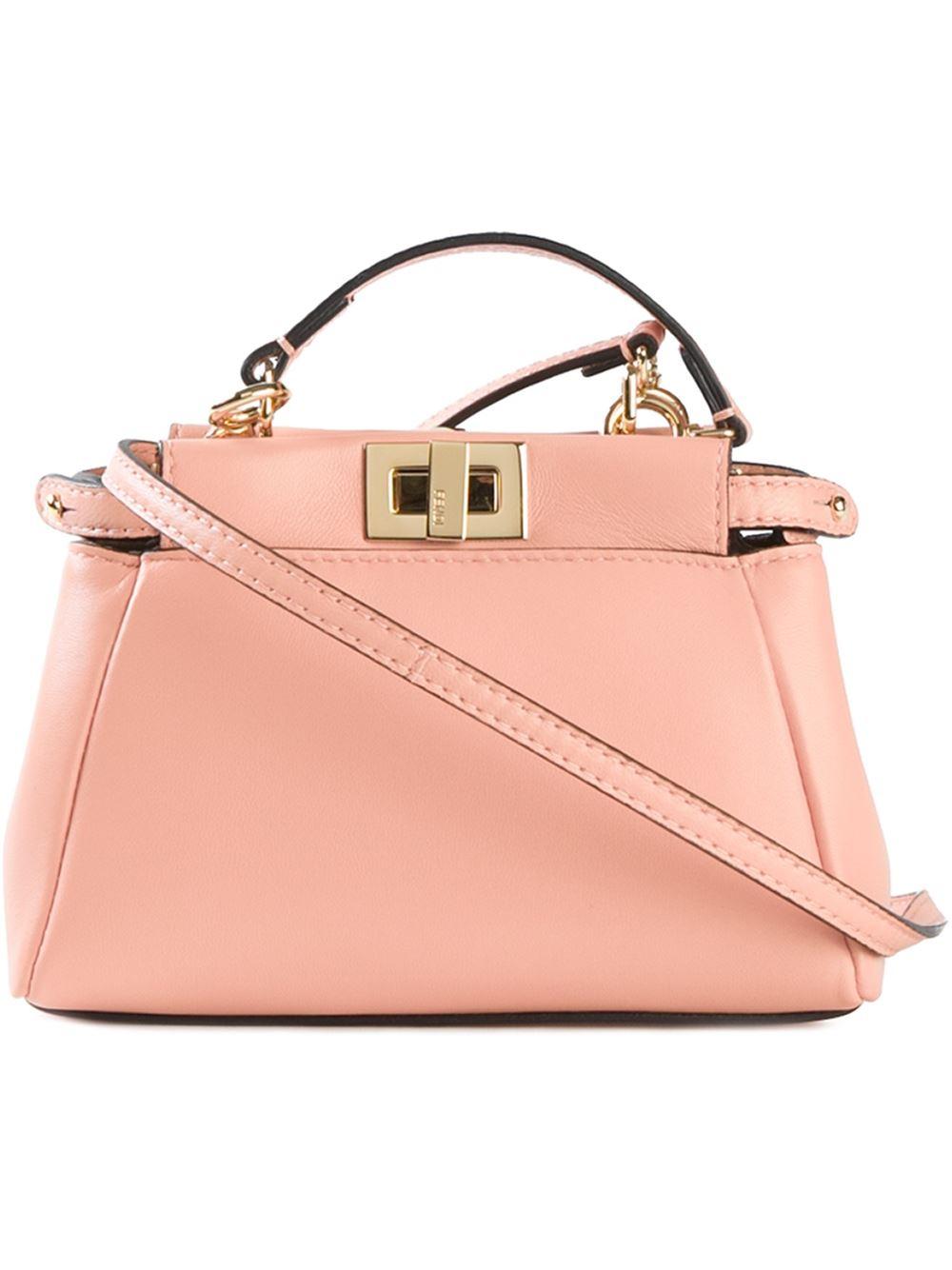30c49b1374 Lyst - Fendi Micro  Peekaboo  Tote in Pink