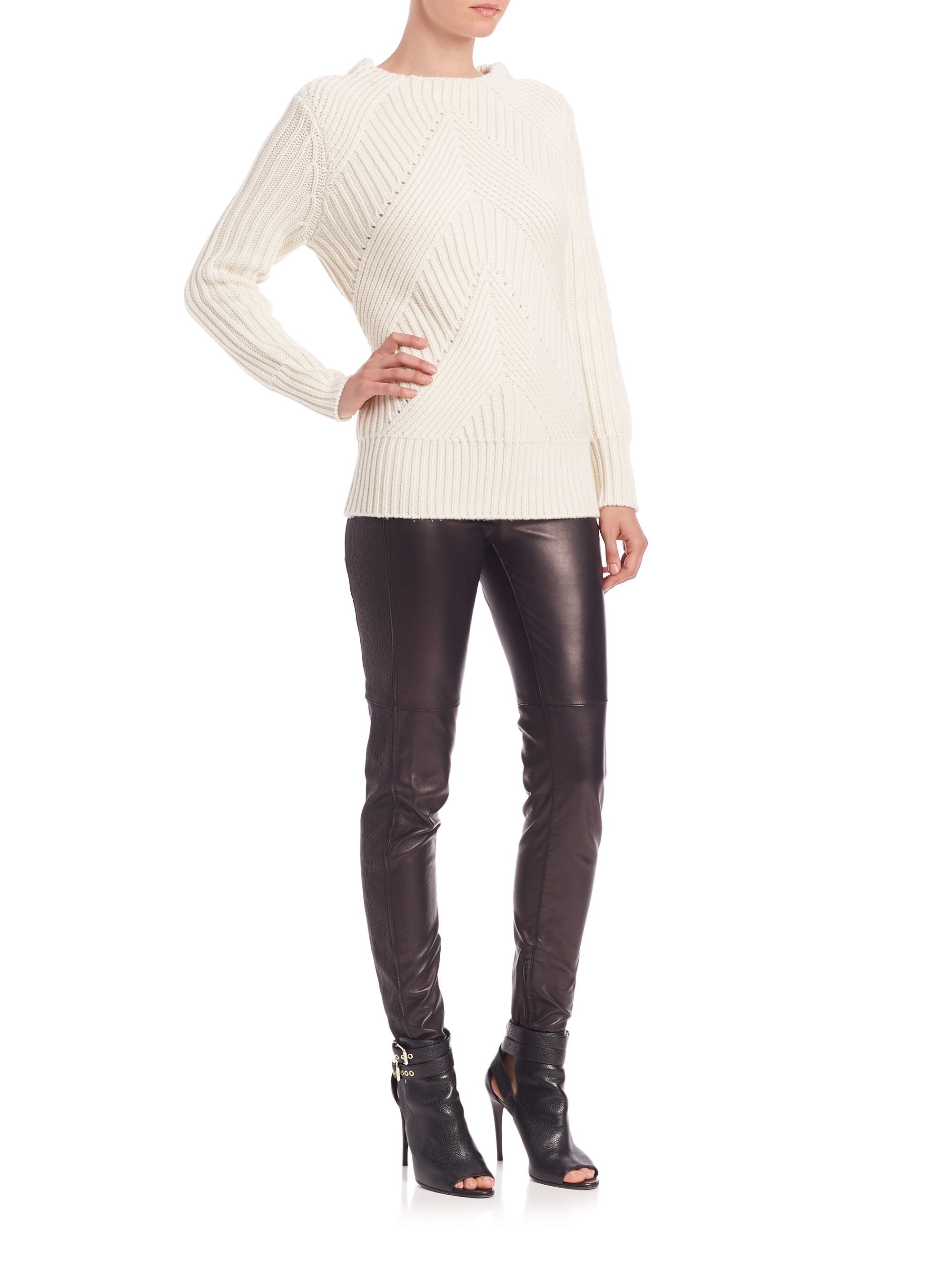Burberry Wool & Cashmere Cable-knit Sweater in Natural | Lyst