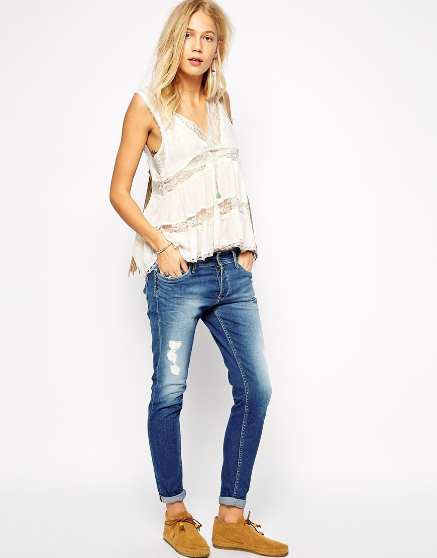 Pepe jeans Joey Slim Cropped Boyfriend Jeans With Distressing in ...