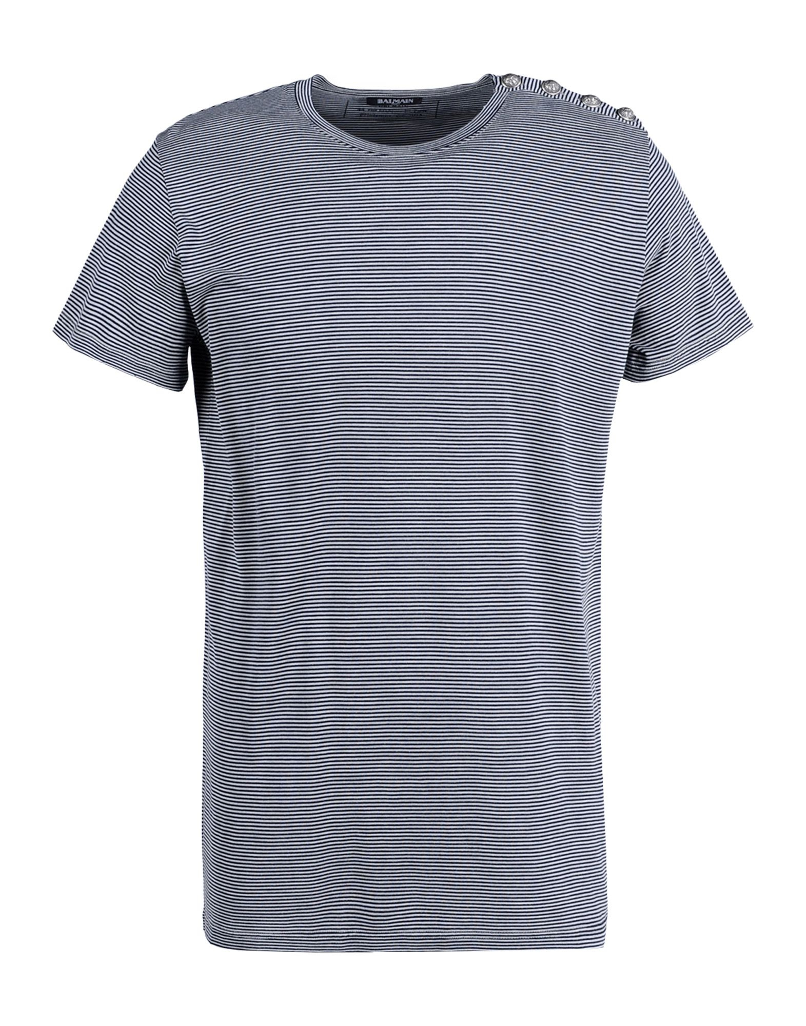 balmain short sleeve t shirt in blue for men dark blue lyst. Black Bedroom Furniture Sets. Home Design Ideas