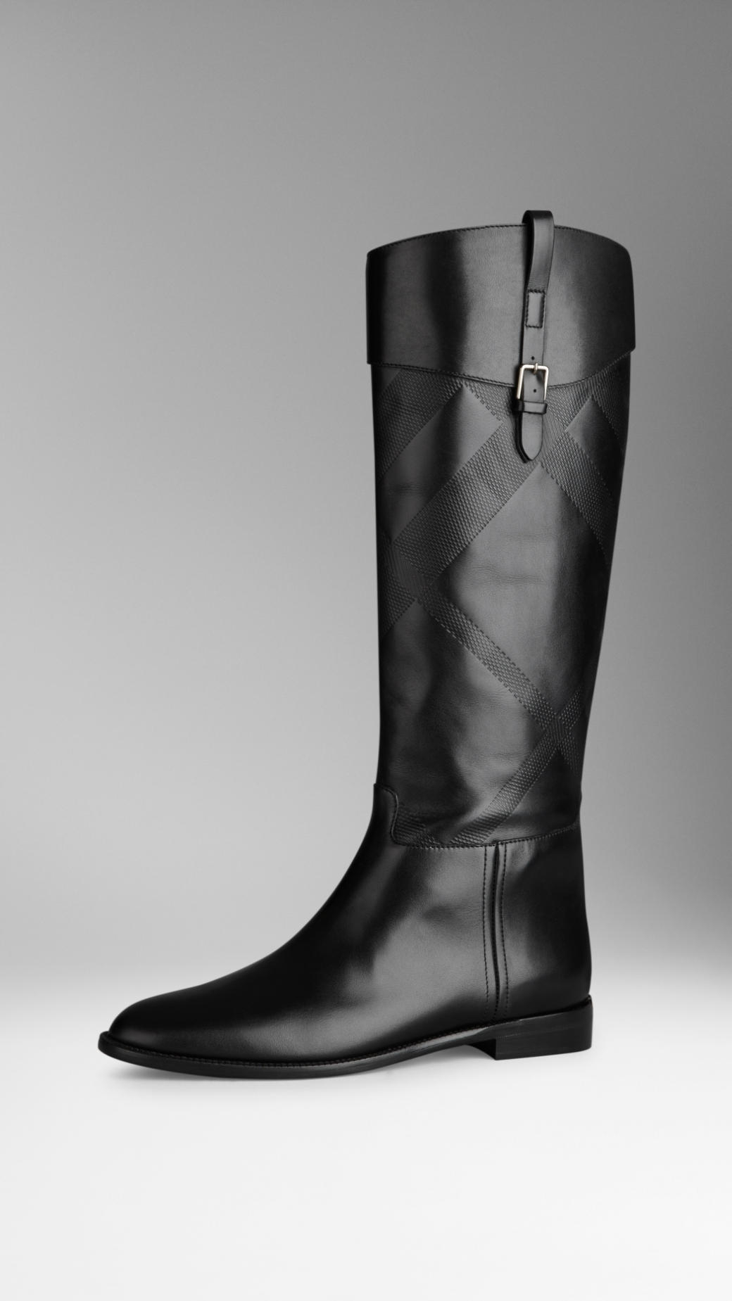 burberry embossed check panel leather boots in