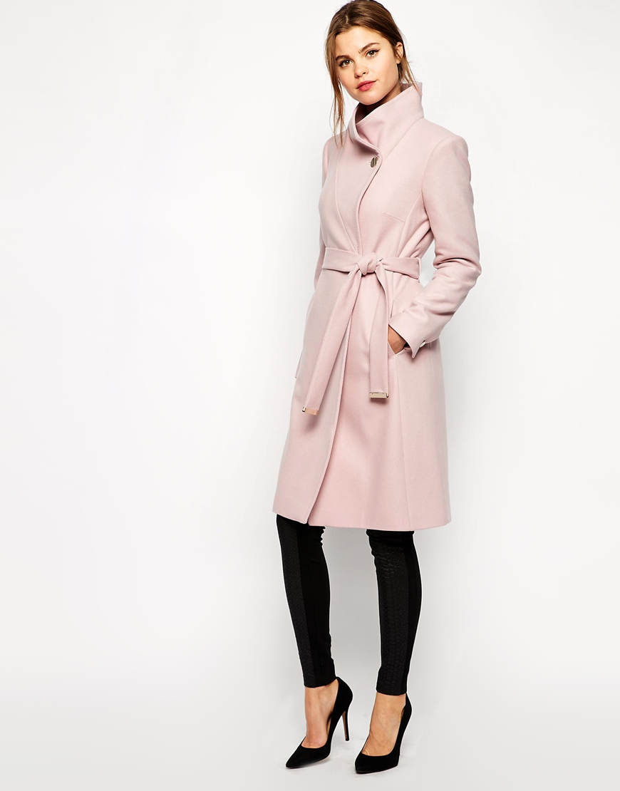 095b85fb00724e Lyst - Ted Baker Belted Wrap Coat In Pale Pink in Pink