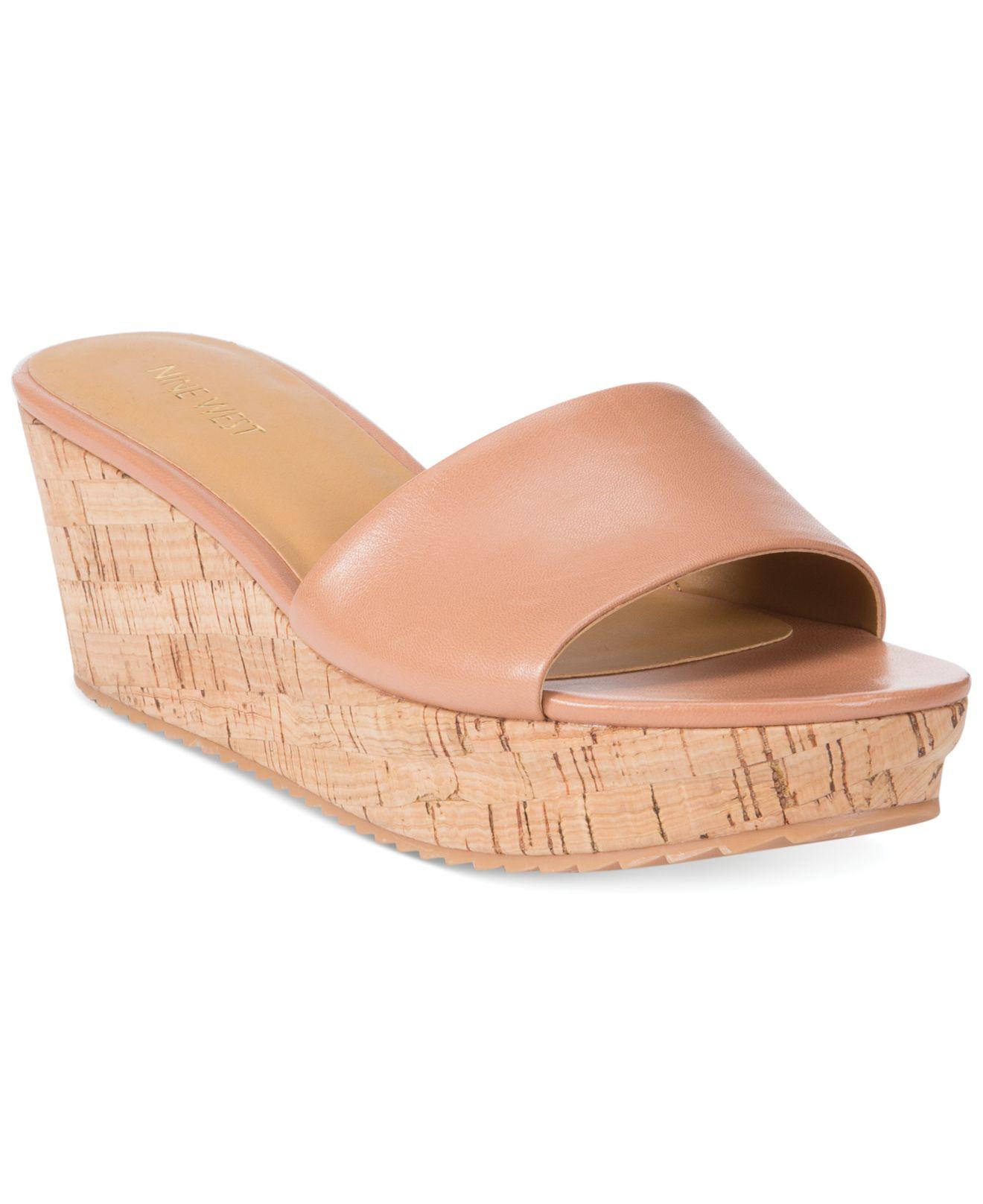 cd22790b880 Lyst - Nine West Confetty Platform Slide Sandals in Natural