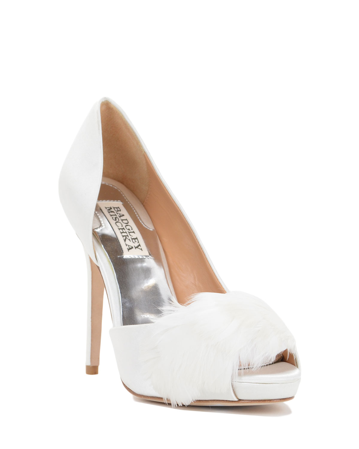 badgley mischka piper feather adorned evening shoe in