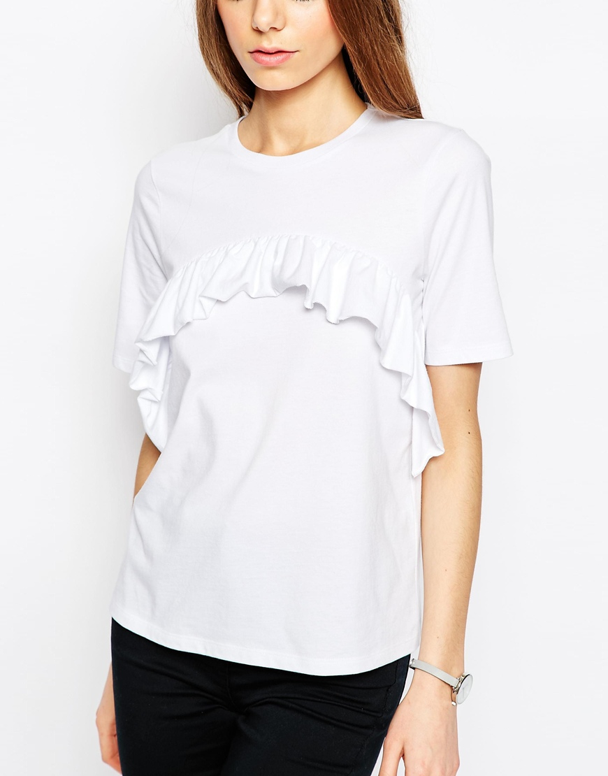 Asos Tall T Shirt With Ruffle Front In White Lyst