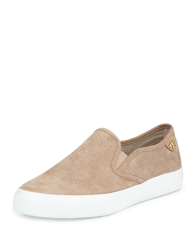 e2aa11be7 Lyst tory burch floyd slip on leather sneaker in brown jpg 1200x1500 Tory  burch slide ons