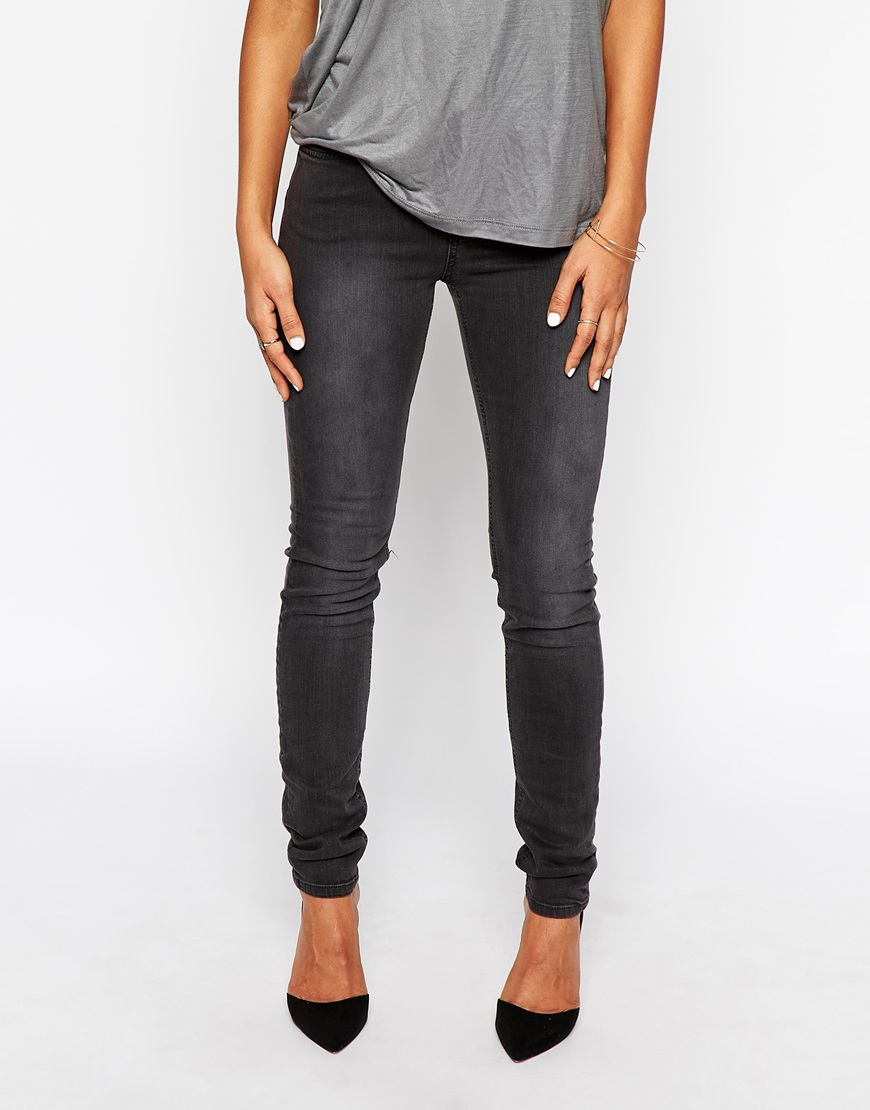 Selected Mid Rise Annie Washed Black Skinny Jeans in Black | Lyst