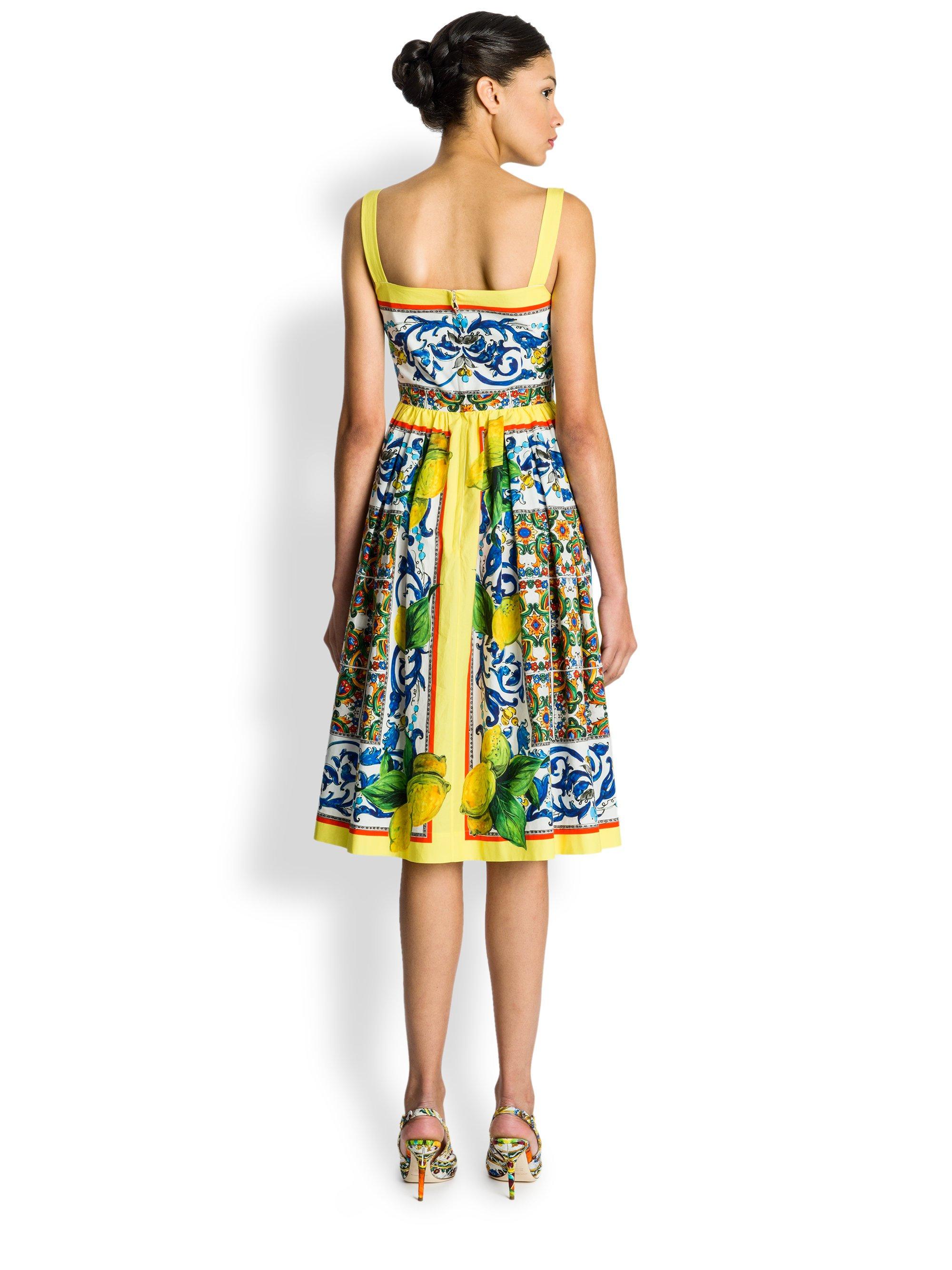 7e3c26f644 Dolce   Gabbana Lemon Pop Tileprint Sundress - Lyst