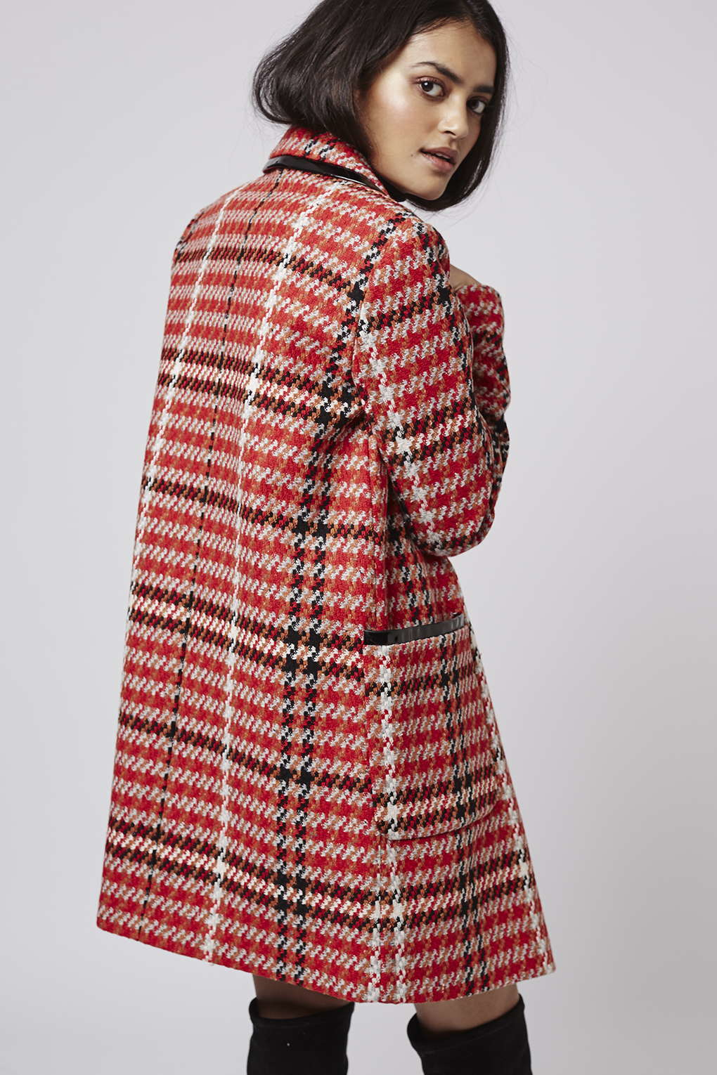 Topshop Tall Vinyl Check Swing Coat in Red | Lyst