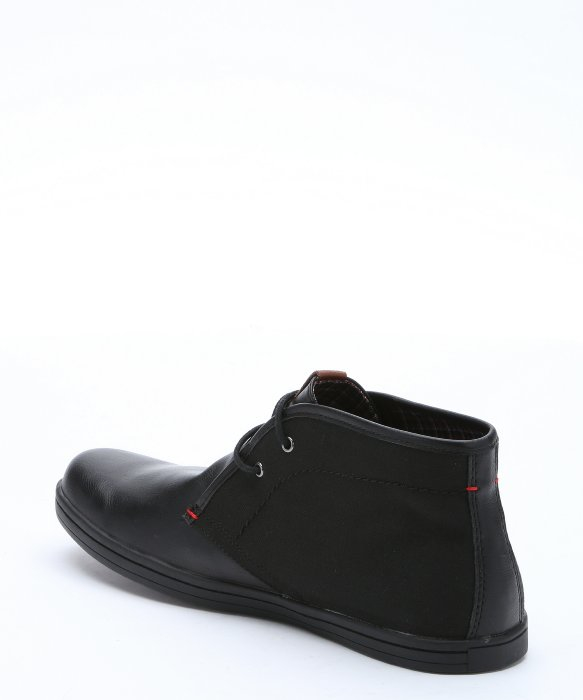 Ben sherman Black Leather And Canvas 'victor' Lace-up Chukka ...