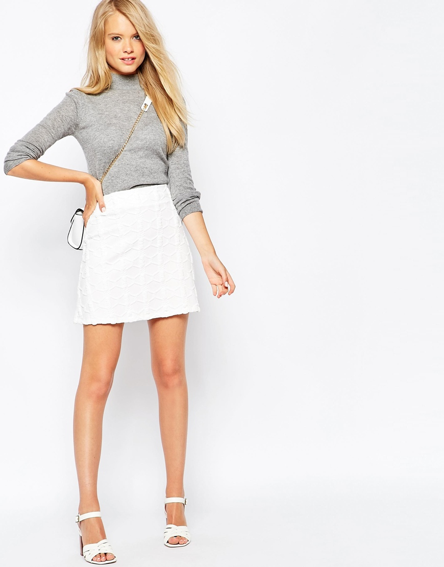 Asos A-line Mini Skirt In Texture in White | Lyst