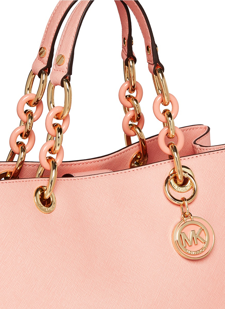 6aefa563458061 ... switzerland michael kors cynthia medium saffiano leather satchel in  pink lyst 6818b 8605c ...