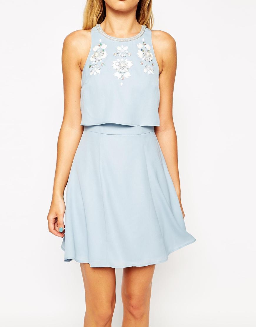 Asos Embellished Crop Top Skater Dress In Blue Lyst