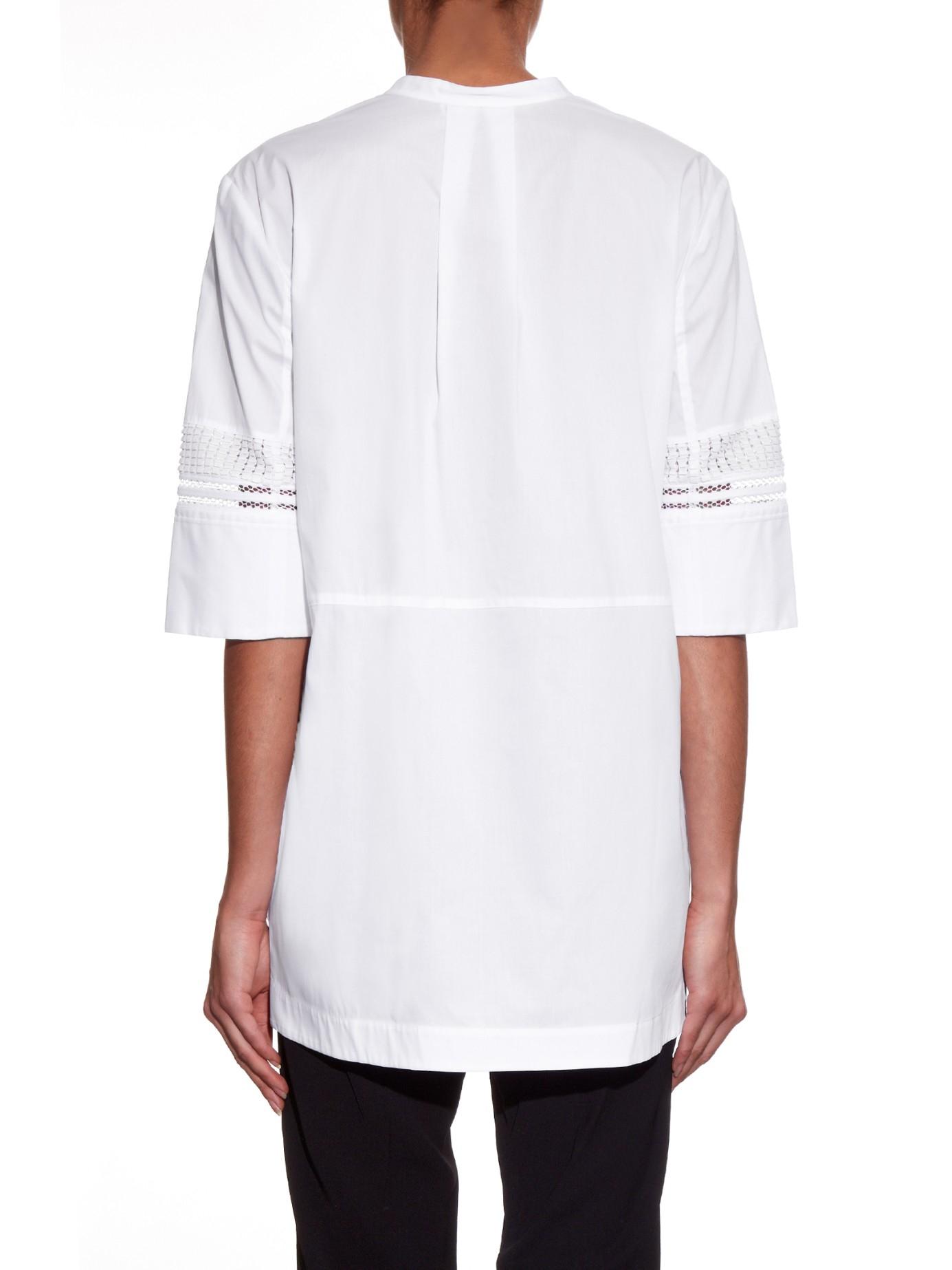 Lyst Vince Collarless Cotton Poplin Tunic Shirt In White