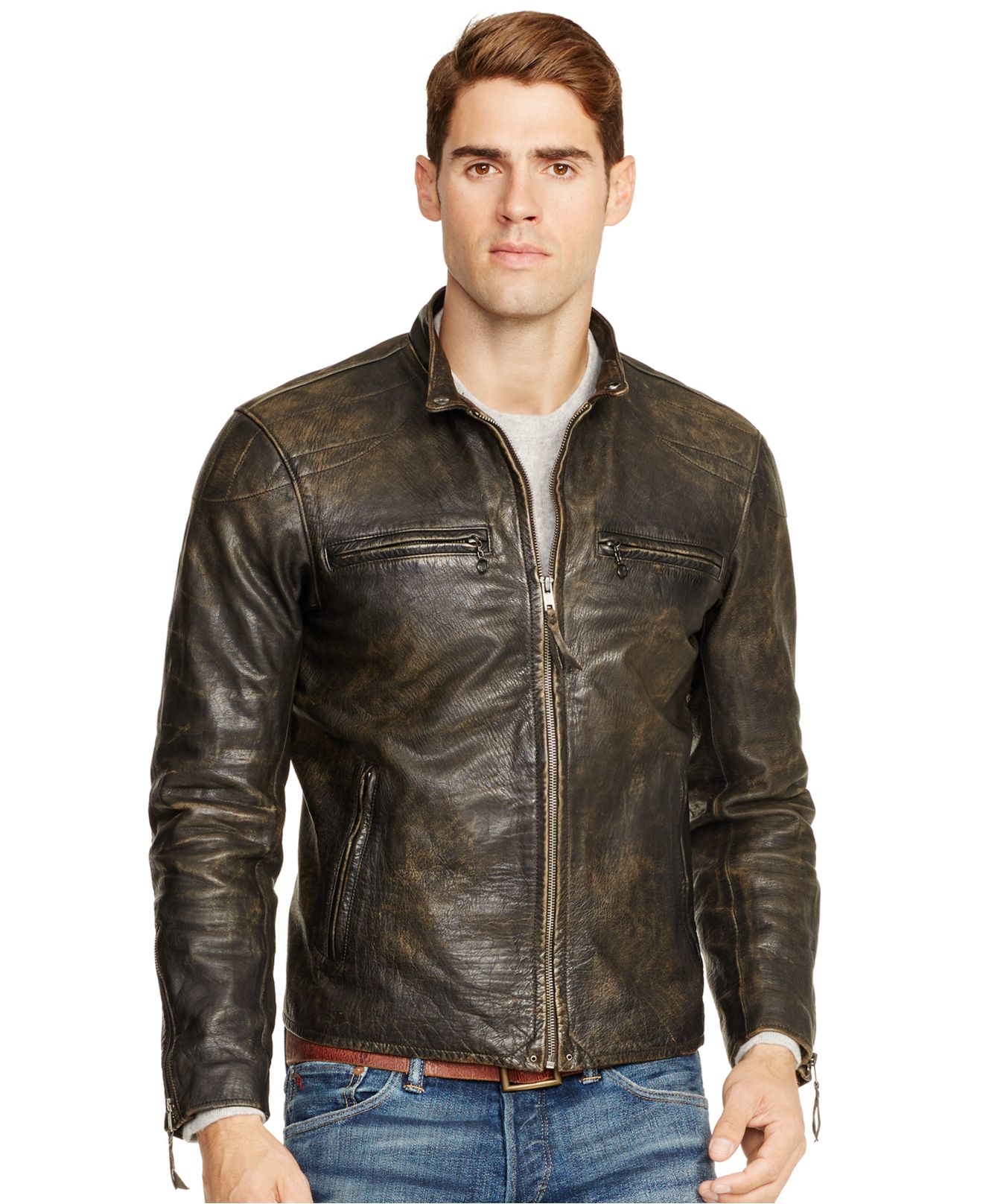 lyst polo ralph lauren distressed leather jacket in. Black Bedroom Furniture Sets. Home Design Ideas