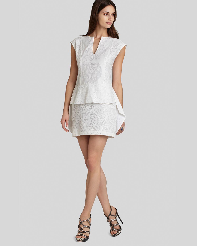 Bcbgmaxazria Bcbg Max Azria Dress Isabel Peplum in White ...