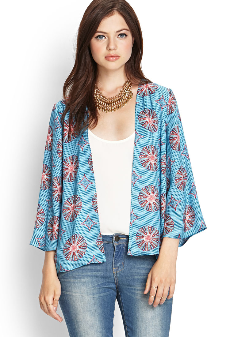 Forever 21 Contemporary Medallion Kimono Cardigan in Blue | Lyst