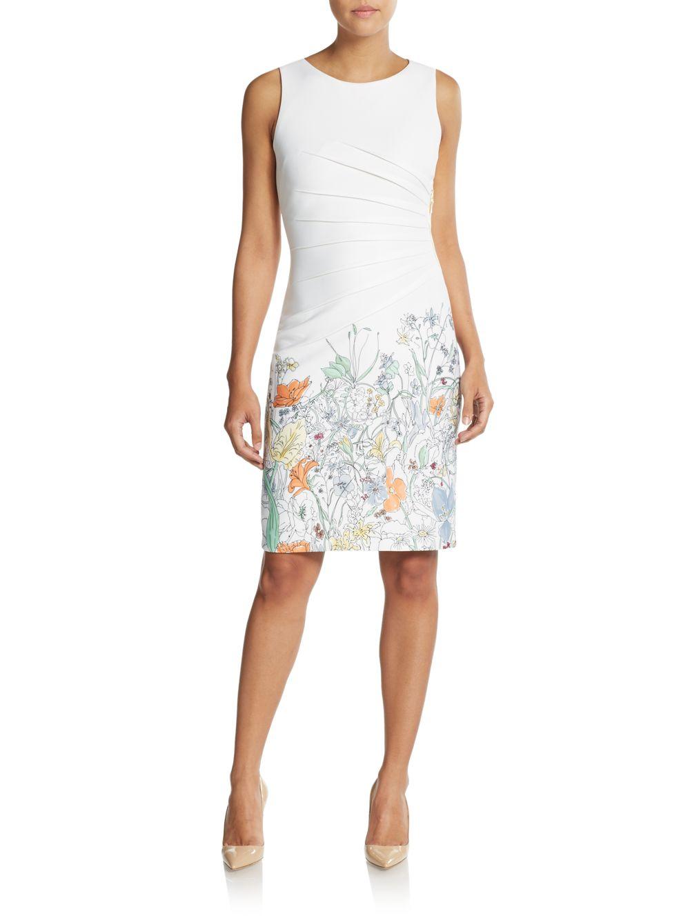 Lyst Ivanka Trump Pleated Floral Print Dress In White