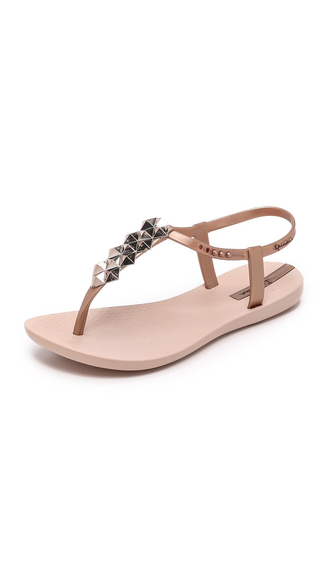 Ipanema Cleo Shine T Strap Sandals In Metallic Lyst