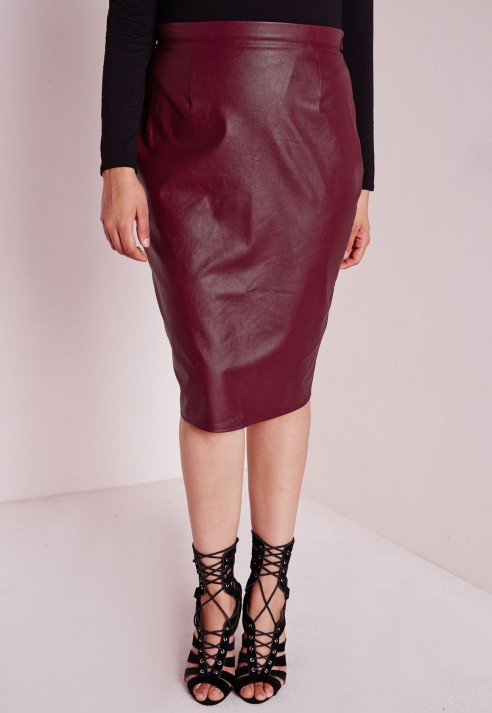 Missguided Plus Size Faux Leather Midi Skirt Burgundy in Purple | Lyst