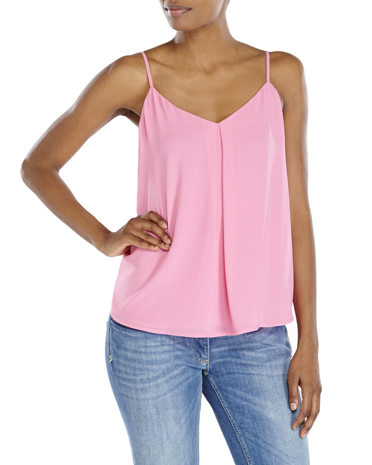 caab67b881189 Lyst - Naked Zebra V-Neck Pleated Tank in Pink