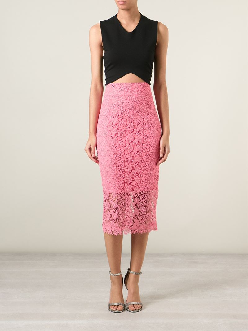 Ermanno scervino Lace Pencil Skirt in Pink   Lyst