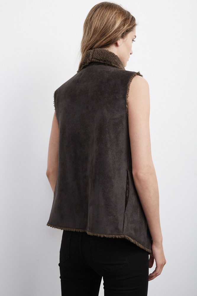 Velvet By Graham Amp Spencer Analucia Faux Fur Vest In Brown